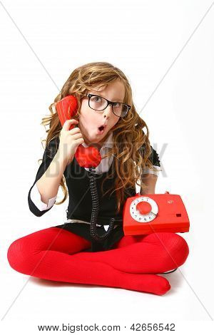 Funny Business Girl With Phone And Glasses On A White Background