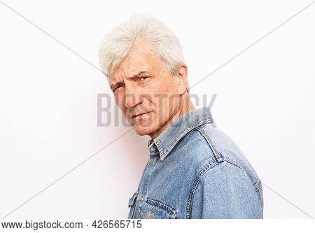 Old people, emotion and modern lifestyle concept. Senior man with gray hair