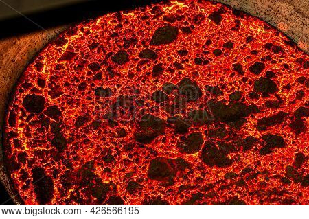 Hot Metal Surface In A Metallurgical Ladle.