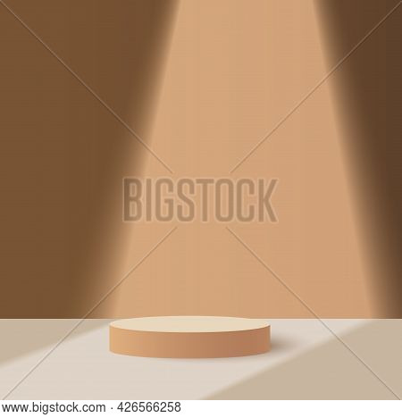 3d Podium Minimal Scene With Glass Geometric Platform. Background Vector 3d Rendering Stand To Show
