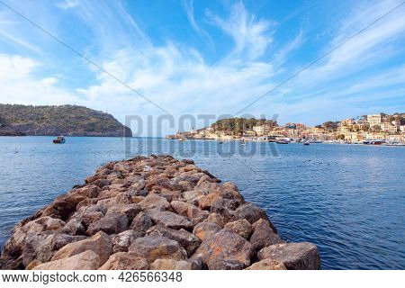 Port De Soller Balearic Islands Spain . Port Of The Town Of Soller In Mallorca