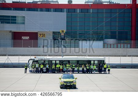 Switzerland - 05.29.2015 - Bus On A Runway. Airport Transportation. High Quality Photo