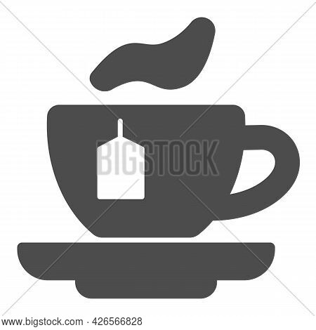 Cup Of Tea With Bag Solid Icon, Englishbreakfast Concept, Cup Of Tea Vector Sign On White Background