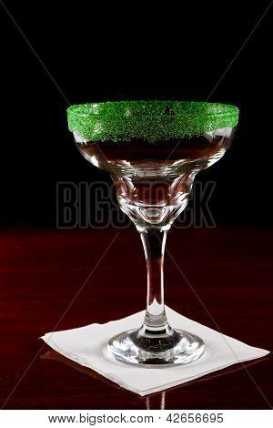 Green Salt Rim Margarita Glass