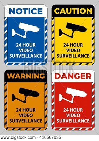 Set Cctv 24 Hour Video Surveillance Sign Symbol