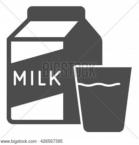 Carton Of Milk And Glass Solid Icon, Englishbreakfast Concept, Milk And Glass Vector Sign On White B