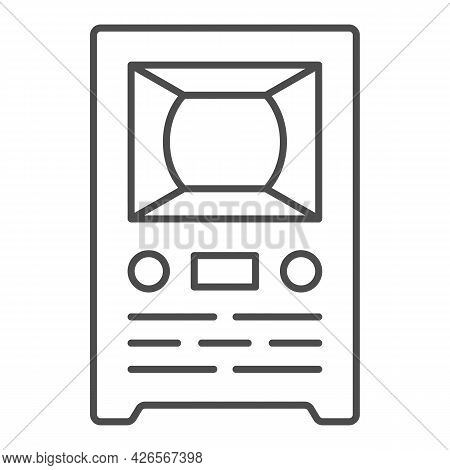 Retro Tv Thin Line Icon, Monitors And Tv Concept, Old Vintage Tv Vector Sign On White Background, Ou