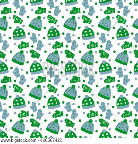 Pattern With Green And Gray Hats And Mittens. For The Cold Season. Vector Illustration Isolated On W