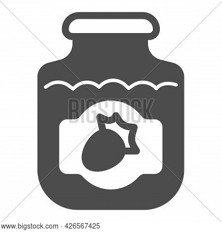 Jar Of Strawberry Jam Solid Icon, Englishbreakfast Concept, Strawberry Jam Vector Sign On White Back