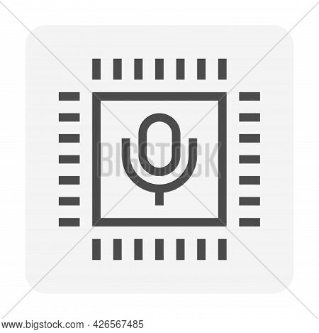 Digital Technology For Communication Vector Icon. Consist Of Microchip, Microphone. Electronic Devic
