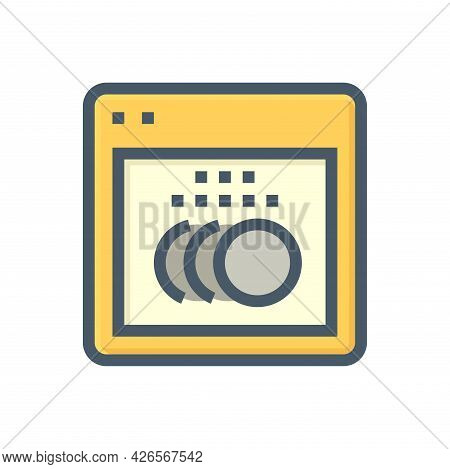 Dishwasher Vector Icon. Home Appliance Or Machine For Wash Dish, Plate, Dishware And Utensils By Hot