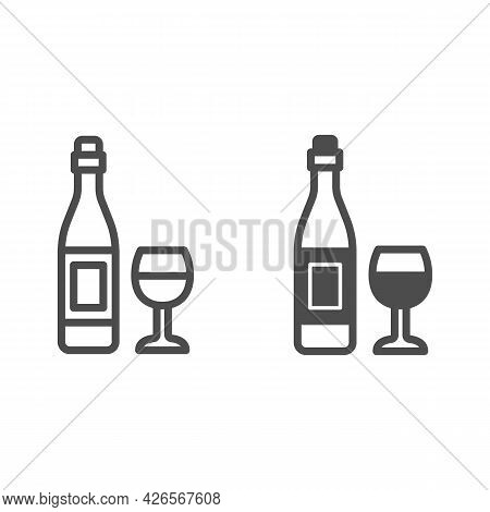 Bottle Wine And Glass Line And Solid Icon, Winery Concept, Alcohol Beverage And Wineglass Vector Sig