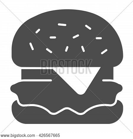 Hamburger With Cheese And Cabbage Solid Icon, Englishbreakfast Concept, Hamburger Vector Sign On Whi
