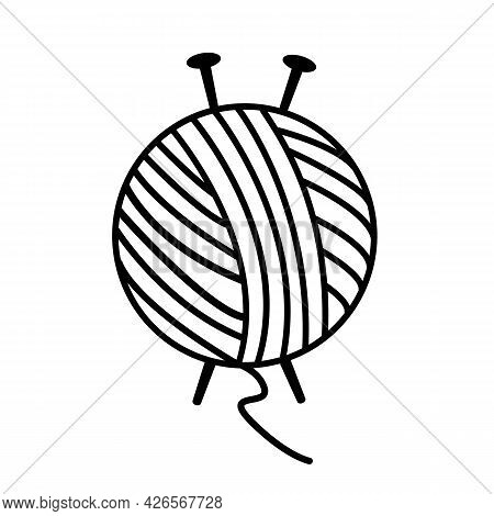 Yarn Ball And Needles Icon On White Background. Knitting Needles Sign. Yarn Ball With Knitting Needl