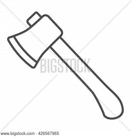 Ax Thin Line Icon, Construction Tools Concept, Building Hatchet Vector Sign On White Background, Out