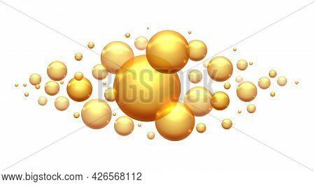 Keratin Proteins Bubbles. Vitamin Light Oil Isolated, Shining Argan Yellow Circle Drops For Beauty C