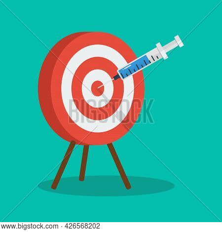 Vaccine And Syringe Injection To Target Dartboard. Covid-19 Vaccine Discovery Success,