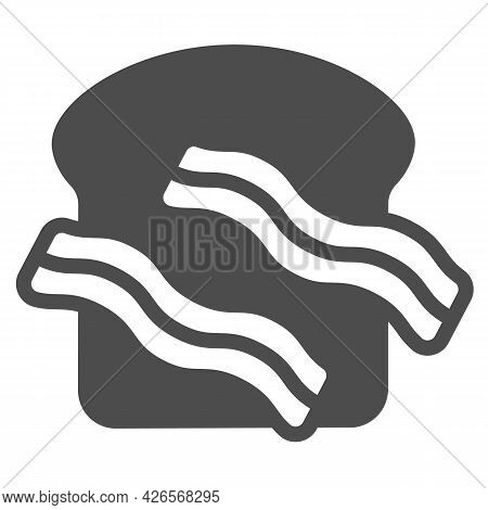 Meat Steak And Toast Bread Solid Icon, Englishbreakfast Concept, Meat And Toast Vector Sign On White