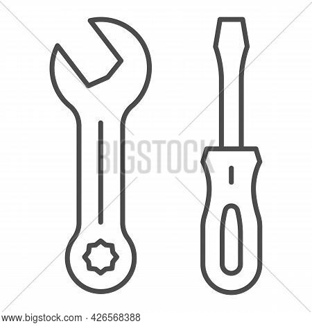 Screwdriver And Wrench Thin Line Icon, Construction Tools Concept, Screwdriver And Spanner Vector Si