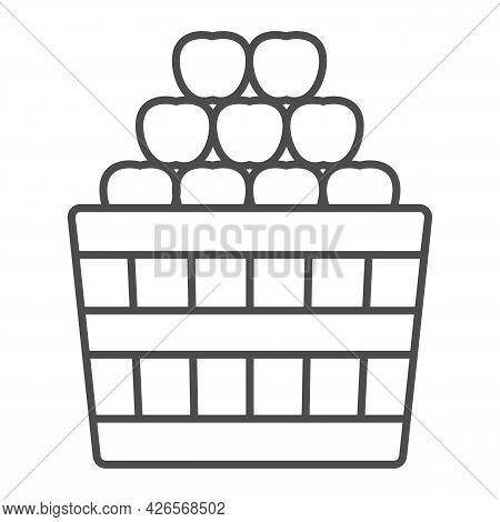 Basket Full Of Apples Thin Line Icon, Fruit Harvest Concept, Full Box Of Apples Vector Sign On White