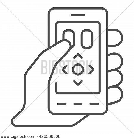 Smartphone As A Remote Control Thin Line Icon, Tv And Monitors Concept, Phone As Remote Vector Sign