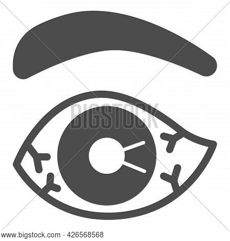 Eye Burst Capillaries Solid Icon, Officesyndrome Concept, Eye Burst Capillaries Vector Sign On White