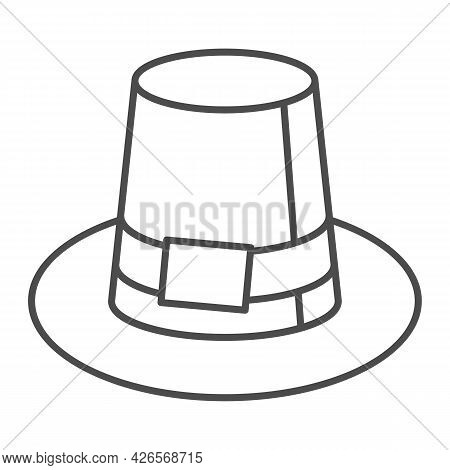 Farmer Hat For Men Thin Line Icon, Headware Concept, Thanksgiving Pilgrim Top Hat Vector Sign On Whi