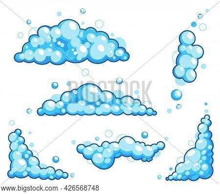 Cartoon Soap Foam Set With Bubbles. Light Blue Suds Of Bath, Shampoo, Shaving, Mousse. Vector Illust