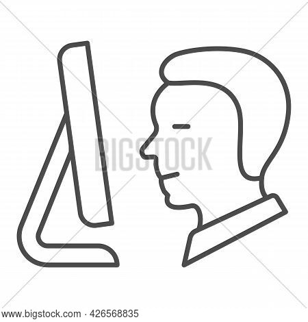 Man Look At Monitor Thin Line Icon, Monitors And Tv Concept, Person Look At Screen Vector Sign On Wh