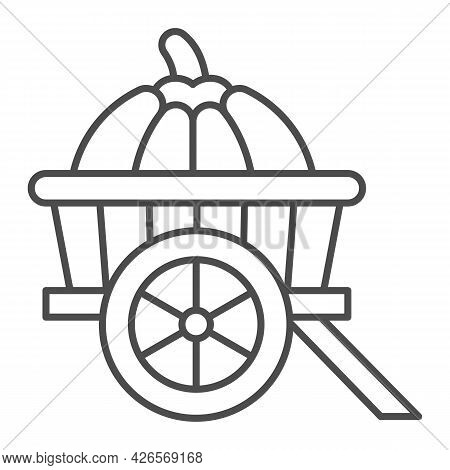 Pumpkin In Cart Thin Line Icon, Vegetable Crop Concept, Pumpkin In Wagon Vector Sign On White Backgr