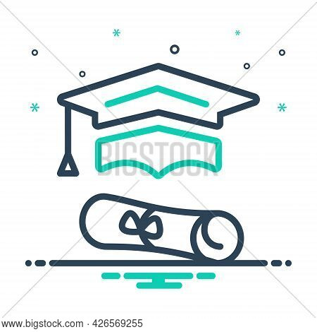 Mix Icon For Graduation Education Learning Teaching Degree Graduate Cap Bachelor