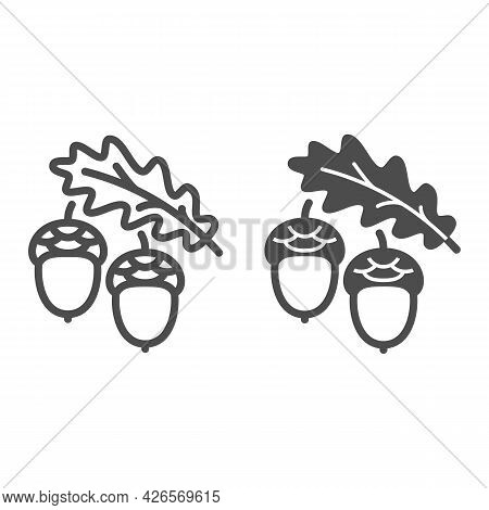 Acorns And Oak Leaf Line And Solid Icon, Forest Tree Concept, Oak Twig With Acorns Vector Sign On Wh