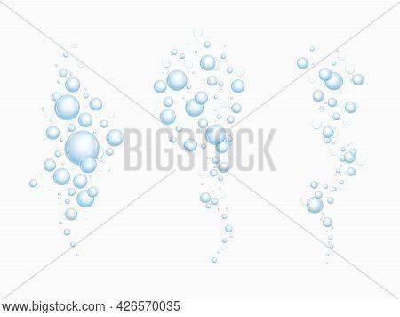 Realistic Fizzing Flow Of Air Underwater Bubbles In Water, Soda, Sea. Foam Bubbles. Vector Illustrat