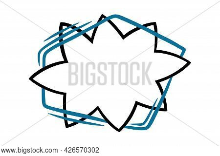Star Speech Bubble With Blue Lines. Outline Speech Box Isolated In White Background. Handdrawn Vecto