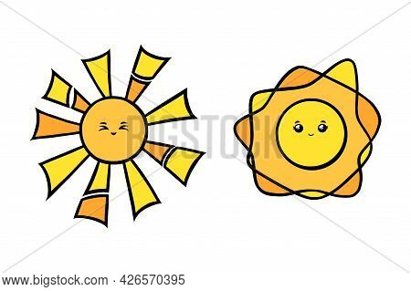 Cute Suns With Eyes Full Of Joy. Yellow Sun Smiling Faces In Doodle Style. Black And White Vector Il