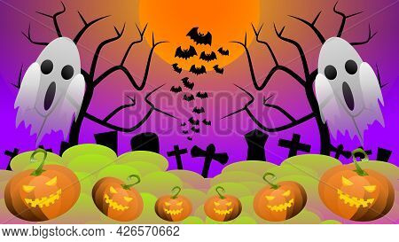 Halloween Background, Full Moon On Halloween Day, The Ghost Prepares To Rise From The Graves With De