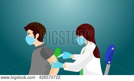 Vaccine Injection By A Woman Doctor She Inject To A Man For Defending His Body From Virus, Injection