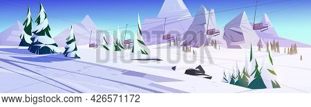 Winter Landscape With Ski Lift Chairs In Mountains With Snow And Fir Trees. Vector Cartoon Illustrat