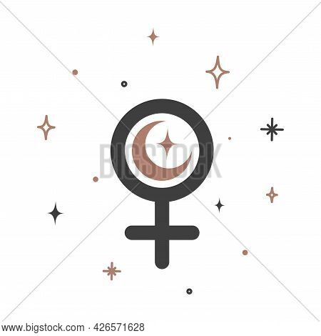 Alchemy Esoteric Mystical Magic Celestial Talisman With Female Sign. Spiritual Occultism Object. Vec