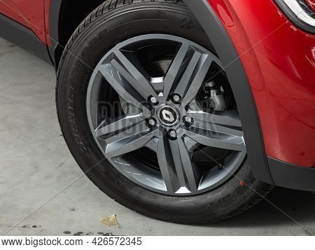 Novosibirsk, Russia - June 29, 2021: Renault Arkana, Car Wheel With Alloy Wheel And New Rubber On A