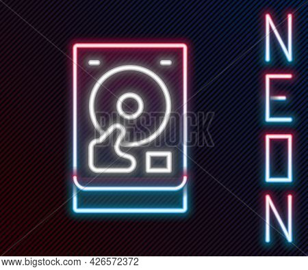 Glowing Neon Line Hard Disk Drive Hdd Icon Isolated On Black Background. Colorful Outline Concept. V
