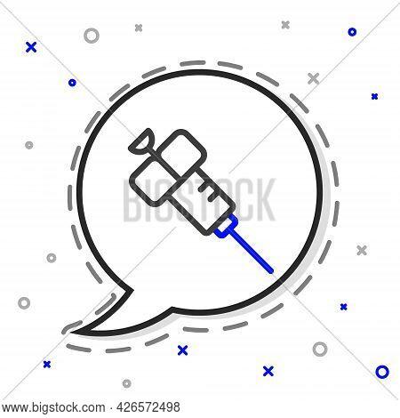 Line Syringe Icon Isolated On White Background. Syringe For Vaccine, Vaccination, Injection, Flu Sho