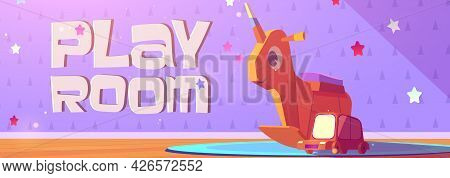Play Room Cartoon Banner With Kids Wooden Toys Rocking Unicorn And Car On Cute Baby Wallpaper Backgr