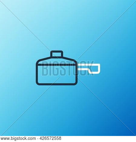 Line Frying Pan Icon Isolated On Blue Background. Fry Or Roast Food Symbol. Colorful Outline Concept