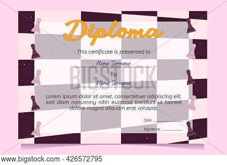 Diploma Presented To Winner In Chess Game. Vector Certificate Template For Award Merit In Competitio