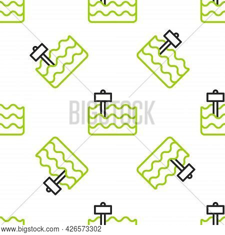 Line Garden Bed Or Cultivation Bed Icon Isolated Seamless Pattern On White Background. Vector