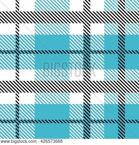 Blue And Black Scotland Textile Seamless Pattern. Fabric Texture Check Tartan Plaid. Abstract Geomet