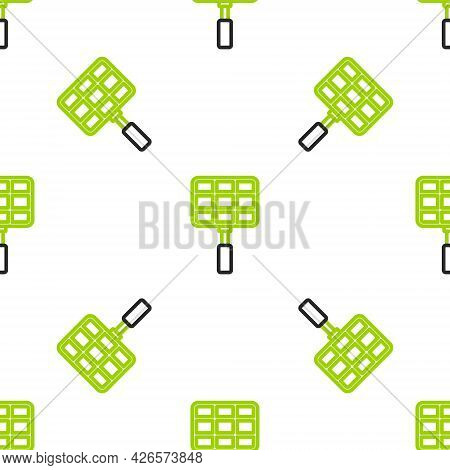 Line Barbecue Steel Grid Icon Isolated Seamless Pattern On White Background. Top View Of Bbq Grill.
