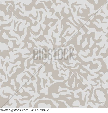 Beige Camouflage Seamless Pattern. Modern Military Two Color Camo Texture. Desert Masking Color. Sto