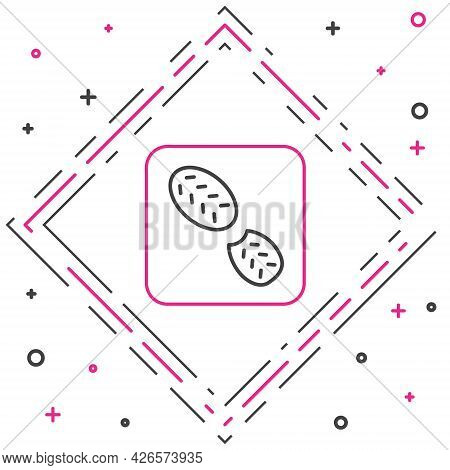 Line Human Footprints Shoes Icon Isolated On White Background. Shoes Sole. Colorful Outline Concept.